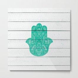 Hip Turquoise Hamsa Hand Henna Pattern Wood Stripe Metal Print