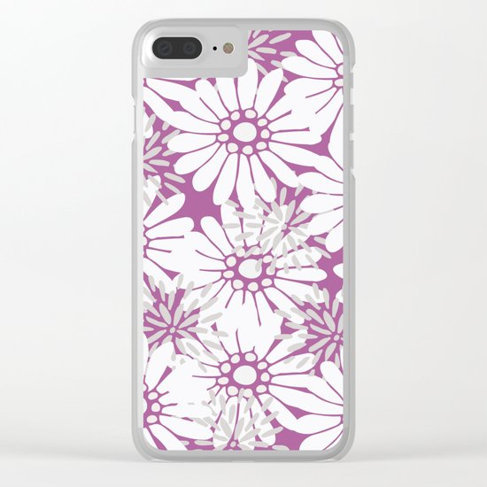 Summer Flowers Purple Clear iPhone Case