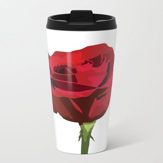Red Rose Metal Travel Mug
