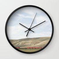 western Wall Clocks featuring Western Train by Rachelvb