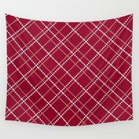 burgundy Wall Tapestries featuring Burgundy Pattern by Christina Rollo