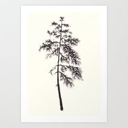 Black ink forest: Pine tree Art Print