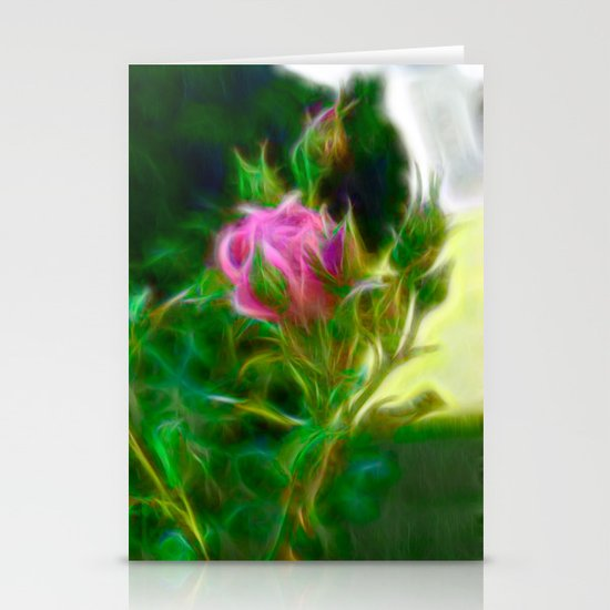 Pink Fractal Rose Stationery Cards