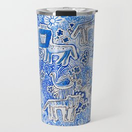 Delft Blue and White Pattern Painting with Lions and Tigers and Birds Travel Mug
