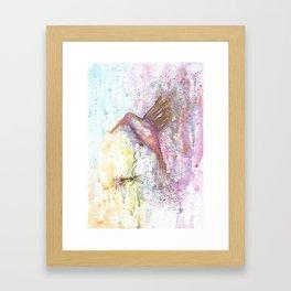 Hummingbird Watercolor Illustration Framed Art Print