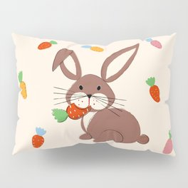 Cute Bunny and Carrots Pillow Sham