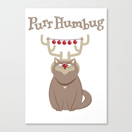 Purr Humbug. Not-So-Festive Cat. Canvas Print