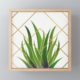 Emerald Succulent with Metallic Gold Diamonds Framed Mini Art Print
