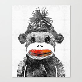 Sock Monkey Art In Black White And Red - By Sharon Cummings Canvas Print