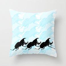3 Scarabs Blue Throw Pillow