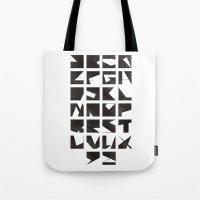 alphabet Tote Bags featuring Alphabet by Fanny Öqvist Westerberg