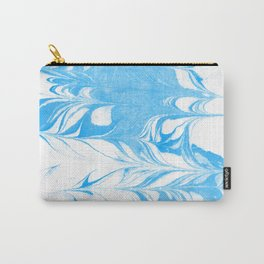 Suminagashi blue and white 1 marble spilled ink ocean swirl watercolor painting Carry-All Pouch