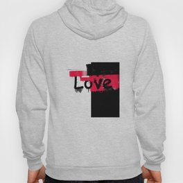 Black and red white pattern Love . Hoody