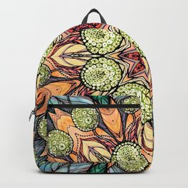 abstract red star hand drawn and kaleidoscope mandala Backpack