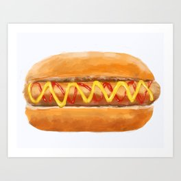Hot Dog in a Bun Art Print