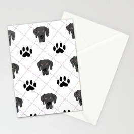 Black Great Dane Paw Print Pattern Stationery Cards