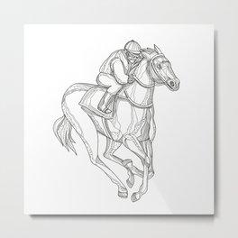 Horse Racing Jockey Doodle Art Metal Print