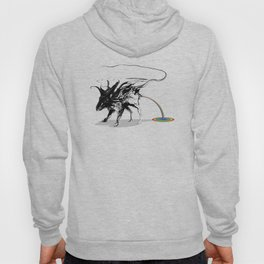Rat and rainbow. Black on white background-(Red eyes series) Hoody