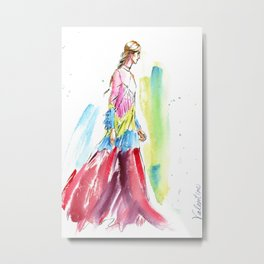 fashion #61: Woman in a long multicolor dress Metal Print