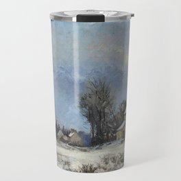 """Camille Pissarro """"Le relais de poste, route de Versailles, Louveciennes, neige"""" Travel Mug"""