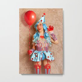 Pretty Pinup Clown Metal Print