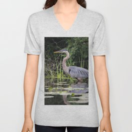 Heron pose in the channel Unisex V-Neck