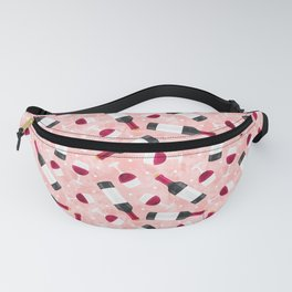 red wine - glasses and bottles - pink Fanny Pack