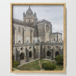 Wonderful view of the lovely cloister garden of the Cathedral of Evora, in Portugal. Serving Tray