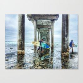 Surfers, La Jolla Shores Pier, San Diego, California. Canvas Print