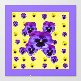 LILAC FRAMED YELLOW & PURPLE PANSY GARDEN FLOWERS Canvas Print