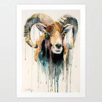 ram Art Prints featuring Ram by Slaveika Aladjova