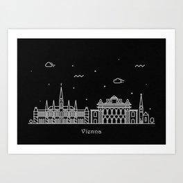 Vienna Minimal Nightscape / Skyline Drawing Art Print