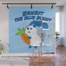 Ernest the blue bunny Wall Mural