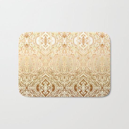 Tribal Swirl Pattern in Neutral Tan and Cream Bath Mat