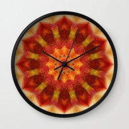 Mandala orangered Wall Clock