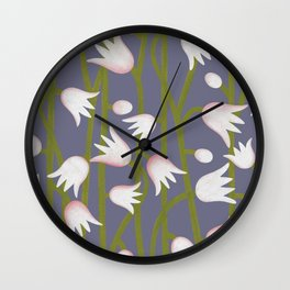 Climbing Lillies on Purple Wall Clock