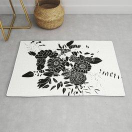 Floral Bouquet Explosion In Black Rug