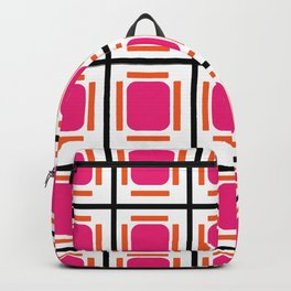 Pink Organs Black Checked and Lined Pattern Retro Backpack