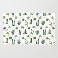 cacti Area & Throw Rugs featuring watercolour cacti and succulent by Vicky Webb