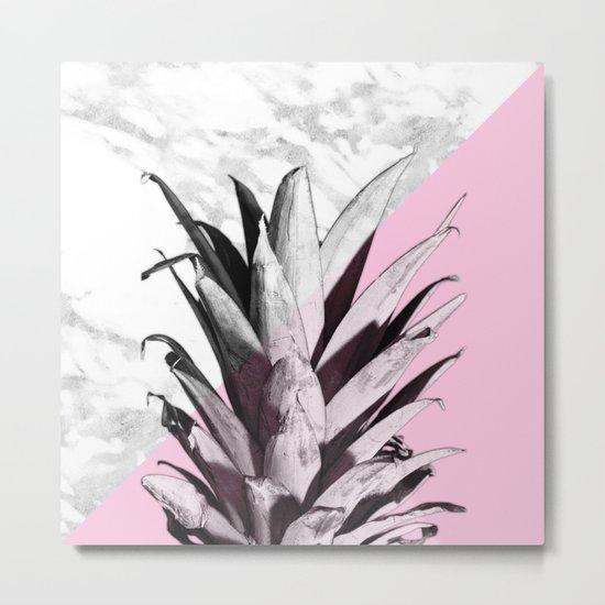 Pineapple Top Marble Pastel Pink Metal Print