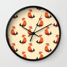 Roosters Pattern Wall Clock