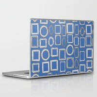 frames Laptop & iPad Skins featuring picture frames blue by Sharon Turner