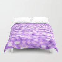 glitter Duvet Covers featuring Purple Glitter Sparkles by WhimsyRomance&Fun
