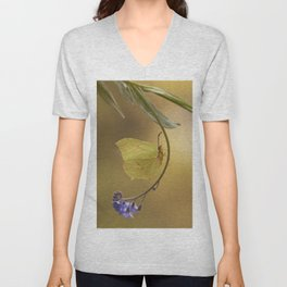 Yellow butterfly on blue forget-me-not flowers Unisex V-Neck