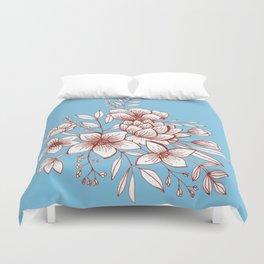 Line Flower Bouquet Duvet Cover