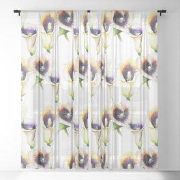 Seamless Watercolor Arum Calla Lilies Sheer Curtain