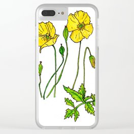 Yellow Poppies Clear iPhone Case