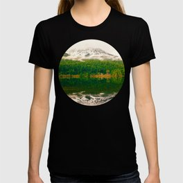 Mid Century Modern Round Circle Photo Graphic Design Reflective Snow Mountain Green Forest T-shirt
