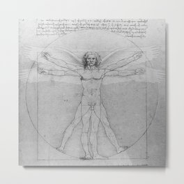 Leonardo da Vinci Vitruvian Man with Wings Study of Angels Metal Print