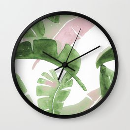 Tropical Leaves Green And Pink Wall Clock
